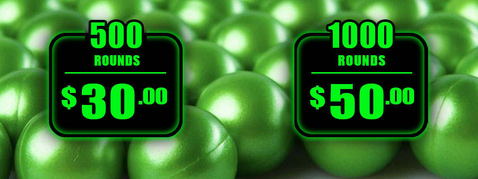 500 Paintballs for $30 and 1000 Paintballs for $50