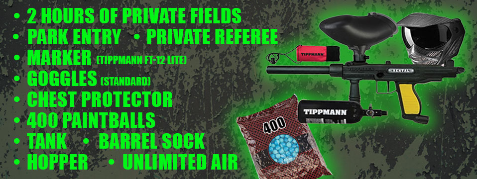 A picture describing the private play package of a paintball gun, paintball mask and a 400 paintball bag with 2 hours of private fields, private guide, Marker, Barrel Sock, Chest Protector, Hopper, Goggles, Tank, Unlimited Air and Barrel Sock and 400 paintballs listed along with Field Fee Included. $45 per player for a minimum of 8 players | $40 per player for 9 to 12 players | $37.50 per player for 13 to 30 players
